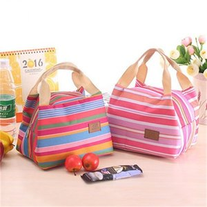 Wholesale Insulated Coolers Storage Bags Keep Warm Striped Bag Go Out Bags With Zipper Big Capacity Simple Design qhH1