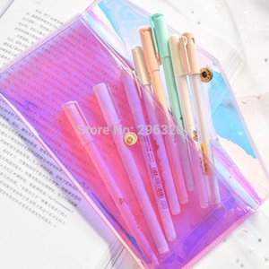 hot 200pcs Laser Dazzle Color Transparent Glitter Pencil Case Fashion Pvc Women Cosmetic Makeup Storage Bag