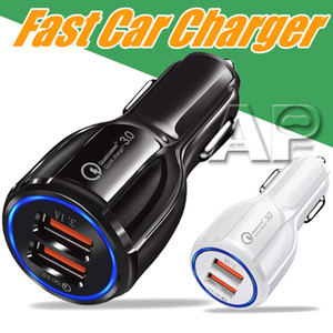 Wholesale Cell Phone Car Charger Dual USB QC3 Fast Charge Adapter Smart Charger V A For Android without packing