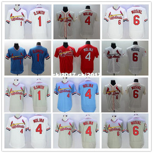 Men 1 Ozzie Smith 4 Yadier Molina 6 stan musial Jerseys new color white blue gray red yellow