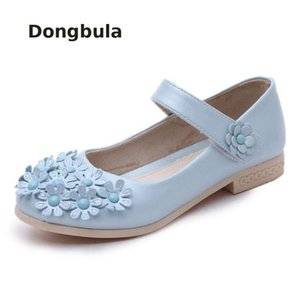 Wholesale 2019 Girls Leather Princess Shoes For Summer kids Low heeled Dress Sandals Student Fashion Red Bow Pearl Children Wedding Shoes