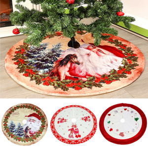 Wholesale 1Pc Christmas Round Tree Skirts Apron Christmas Decoration For Home Carpet Xmas Tree Skirts New Year Decoration Floor Mat