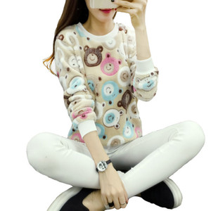 Wholesale Teddy Cute Women Sweater Harajuku Christmas Bear Sweaters Fashion Winter Wool Pullover Cashmere Knitted Warm Flannel