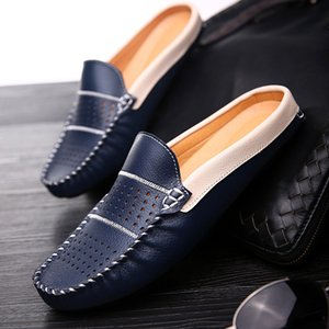 Wholesale New Fashion Man Leather Flats British Half Slipper Loafers EU Summer Men Driving Shoes Black Dark Blue White