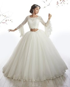 Saudi Arabia Two Piece Ball Gown Wedding Dresses Top Lace 2019 Bell Long Sleeves Sparkly Sequins Puffy Princess Bridal Gowns Wedding Dress