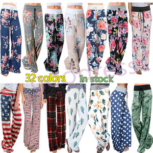 Wholesale Women home Wide Leg Pants Yoga Fitness sports Pants Casual Fashion Harem Loose Long pants Boho Floral Palazzo Capris Lady Trousers Plus Size