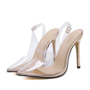 Wholesale 2018 Women Sandals Slip on Wedding Lady Thin Heels Transparent Pointed Toe Princess Style Slingback Sexy Summer Dress Shoes Gold