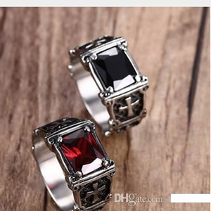 Wholesale Mprainbow Vintage Mens Rings Stainless Steel Red Large Crystal Dragon Claw Cross Ring Band Gothic Biker Knight Punk Jewelry