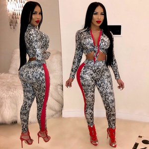 28e17db2d2af Women Party Sexy 2 Piece Set Spring Turn Down Collar Lace Up Full Sleeve Crop  Top And Printed Pencil Pants 2019 Outfits