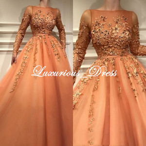 Wholesale New Design Living Orange Long Sleeve Prom Dresses 2019 Lace Appliques Evening Gowns Vintage Arabian ball gown prom dresses robes de soirée