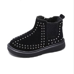 Wholesale MHYONS children's Martin boots autumn and winter new rivets plus cotton ankle boots boys shoes baby cotton shoes girls boots T191015