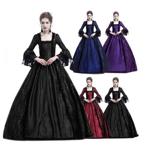 Wholesale Adult Woman Palace Court Princess Dress Elegant Ball Gown Square Collar Lace Halloween Costumes Renaissance Medieval costumeMX190921
