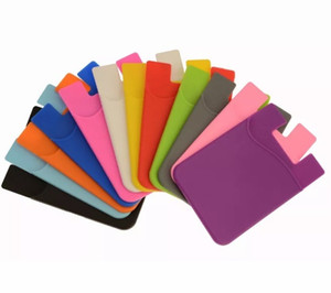 Wholesale Cell Phone Wallet Silicone Adhesive Stick on Wallet Case for Credit Card Ultra Slim Id Holder Wallet Pouch Sleeve Pocket