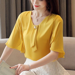 Wholesale 2019 Summer new Womens Tops And Blouses Fashion Shirts short Sleeve Vintage Ladies beading bow tie V neck Blusa Feminina H3