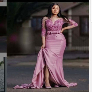 African Long Sleeves Evening Dresses Jewel Sheer Neckline Satin Bow Appliques Mermaid Prom Dress Plus Size Satin Maid Of The Honor Gown on Sale