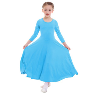 2019 New Children Girls Praise Dress Long Sleeve Pleated Swing Long Church Liturgical Dance Wear Wear Kids Girls Ballet Dress