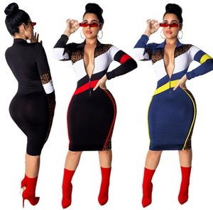 S3504 Spring and Autumn Hot European and American Women's Striped Splicing Lapel Slim Dress Sexy Midi Dress