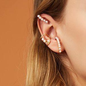3Pcs Set Women Fashion Elegant Pearl Ear Cuff Earrings Set Sexy Ladies Charm Party Wedding Irregular Pearl Earrings Jewelry Gift Accessories