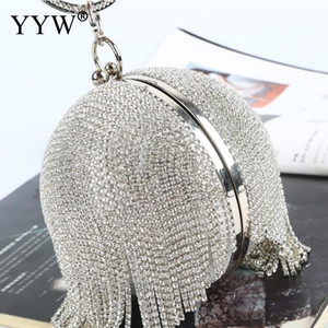 Wholesale Sliver Diamonds Rhinestone Round Ball Evening Bags For Women Fashion Mini Tassels Clutch Bag Ladies Ring Handbag Clutches MX190819