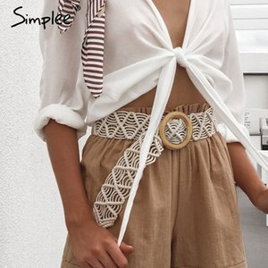 Wholesale Simplee Bohemian women wide belt Crochet woven cummerbunds female waistband Trendy vintage casual ladies summer dress belt
