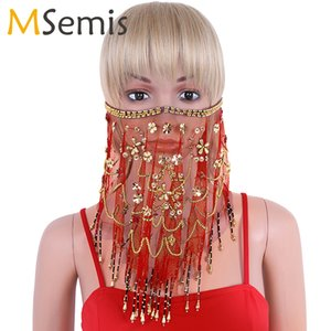 Wholesale Women Beaded Belly Dance Face Veil Mesh See Through Sheer Belly Dance Tribal Face Veil Beads Tassels Halloween Costume Accessory