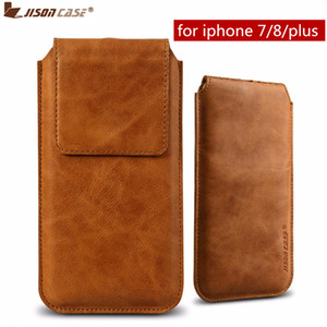 Wholesale case closure for sale - Group buy Jisoncase Pouch Bags for iPhone Plus Case Genuine Leather Luxury Magnetic Closure Cover for iPhone Plus Phone Cases