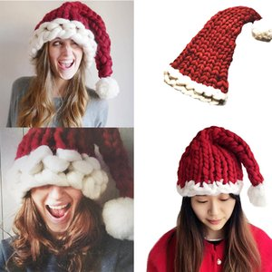 2020 Wool Knit Christmas Hat Fashion Home Outdoor Autumn Winter Warm Hats Long Tail Cap Xmas Gift Party Favor Indoor Tree Decor M681F