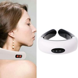 Wholesale portable back massager resale online - Portable Electric Back Neck massager with Acupuncture magnetic therapy Impulse Cervical Vertebra Treatment Instrument R0691