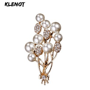 Wholesale Elegant Pearl Balloon Bouquet Brooch Flower Brooch Pins Pearl Rhinestone Balloon Brooches Women Pin Wedding Bridal Party Jewelry