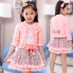 Wholesale 2019 Girls Clothes Set Toddler Girls Clothing Set Fashion Big White Lace Shirt Skirts Coats Children Suit Outfits