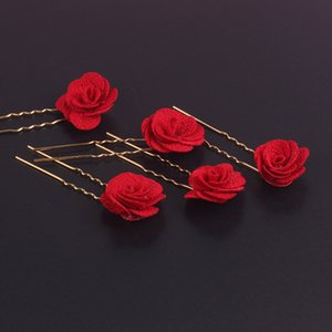 Wholesale Hair Jewelry Rose Flower Hairpins Red Floral Trendy U Shape Hair Sticks Bridal Wedding Hairwear Ornaments Headdress Party Bobby Pin Clip