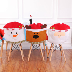 Wholesale Christmas Snowman Cap Chair Covers Christmas Dinner Table Decoration for Home Chair Back Cover Decoracion A03