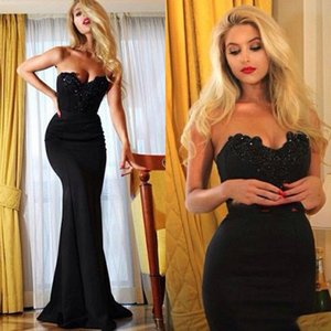 Black Sexy Prom Wear Formal Evening Dresses Strapless Satin Applique Lace Floor Length vestidos de fiesta Party Cocktail Dress on Sale