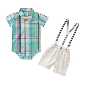 ropa de bebés varones al por mayor-Summer Baby Boys Gentleman Outfits Kids Plaid Bow Pie Thirt Pantalones cortos de suspensión Trajes para niños Ropa de rendimiento de los niños Set Y2299