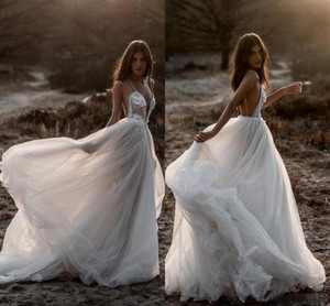 Wholesale Berta 2019 Beach Sexy Wedding Dresses Spaghetti Backless Lace Tulle Bridal Gowns Bohemian Plus Size Country Vestido De Novia