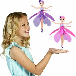 Wholesale HaoXin Induction Fairy Magical Princess Dolls infrared Light Suspension Flying doll toys mini RC drone Girl Children s Gift Figure LED Toys