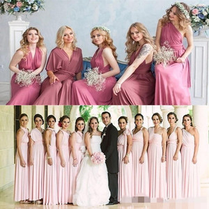 Wholesale 2020 Convertible Bridesmaid Dresses Floor Length A Line Custom Made Pleats Ruched Country Wedding Maid of Honor Gown Formal Evening Wear