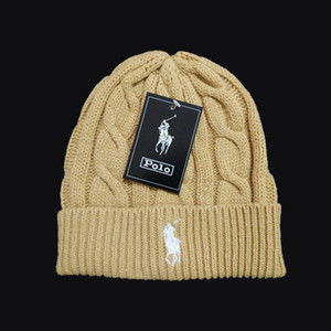 Wholesale polo beanie resale online - Fashion Mens Beanie Winter Wool Hat New Fashion Womens Knitted Thickm Polo Beanie Bonnet Cap