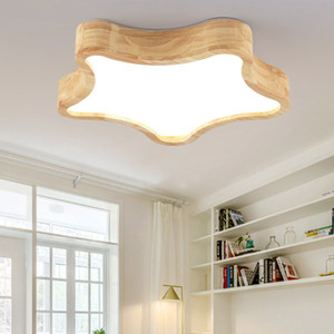 Wholesale LED Ceiling Lights Modern Wood Lamps for Children Kids Bedroom Cloud Star Cute Home Decoration Lovely Novelty Lighting Fixtures R41