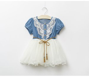 Wholesale Summer Baby Dress Denim Girls dresses New Kids Lace Floral Girl Skirt Short Sleeve Princess Dress Baby Jeans Skirt Baby Clothes