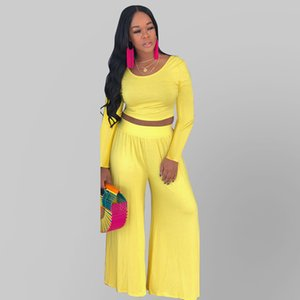 Wholesale Best Selling Elegant Sexy Casual 2 Piece Set Women Long Sleeve Crop Top Long Wide Pants Plus Size Club Summer Party Fashion Trend Clothes