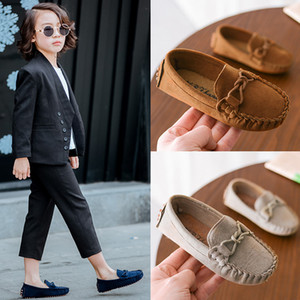 Wholesale summer slip dress kids resale online - Kids Boys Suede Leather Loafer Flats Casual Slip Ons Toddler Soft Shoes Boat Girls Dress Shoes Knot Loafers Shoes Flats