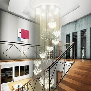 Wholesale Modern Large Crystal Chandelier Light Rain Drop Crystal Sphere Ceiling Light Fixture Long Crystal Stair Lamp Flush Mounted Stairs Lights