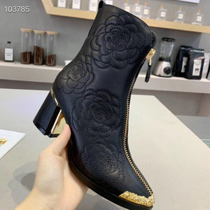 Wholesale 2019 Winter New Classic Luxury Women s Shoes Fashion High Heel Martin Boots Leather Zipper Short Boots Black Chunky Heel Ankle Boots