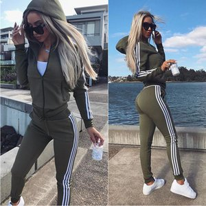 Wholesale 2019 American style womens new sports and leisure suit women clothes two piece set Plus Size Women Clothing S XXL running fitness streetwear