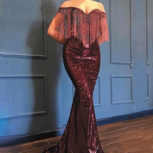 Wholesale Sparkly Burgundy Tassel Sequined Mermaid Evening Dresses 2020 Off Shoulder Sweep Train Long Formal Arabic Prom Party Gowns Special Occasions