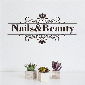 Wholesale Stickers Nail Beauty Salon Wall Sticker Nail Shop Hands Spa Art Design Manicure Salon Wall Decal Vinyl Durable Easy Removable Art Decor
