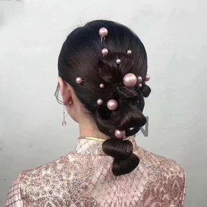 Wholesale 18 set Big Small Artificial Pearl Hair Stick Set Sweet U shaped Hairpin Headdress Wedding Bride Hair Accessories