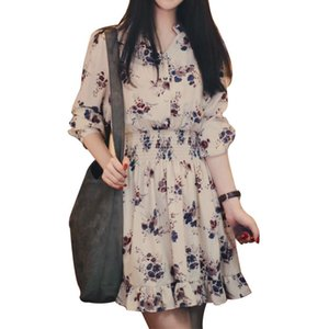 Women Sexy Beach Korean Version Of Loose Long-Sleeved Skirt Waist-Up Fashion With Small Flowers In Mid-Long Chiffon Dress