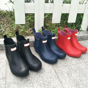 Brand Rain Boots Women Ankle Rainboots Ms Glossy Rain Boots Knee Boots red black blue